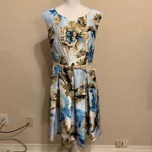 Danny and Nicole Belted Floral Fit & Flare Dress